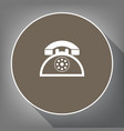 retro telephone sign white icon on brown vector image vector image