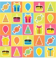 seamless pattern with elements birthday party vector image