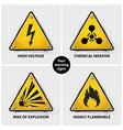 set of yellow warning signs vector image