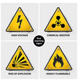 set yellow warning signs vector image vector image