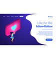 sharing content online isometric 3d landing page vector image