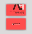 simple business card with initial letter bv vector image vector image