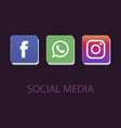 social media icons facebook icon whatsapp icon vector image