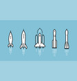 space rocket icon set spacecraft launch vector image