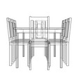 table with chairs rendering of 3d vector image vector image