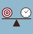 target and time clock on scale vector image vector image