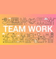 team work word trendy composition concept banner vector image vector image