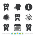 tooth smile face icons happy sad cry vector image