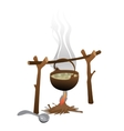 Tourist camping bonfire and brewed pot of food vector image