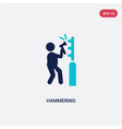 two color hammering icon from gardening concept vector image