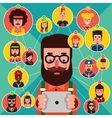 Colorful Avatar Flat Icon Set vector image
