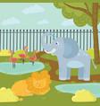 funny cartoon animals in zoo park flamingos in vector image