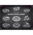 hand drawn sketch international cuisine set vector image