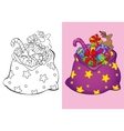 Coloring Book Of Christmas Bag With Toys vector image