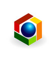 abstract colorful cube with sphere icon vector image