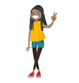 african-american teenager girl showing peace sign vector image vector image