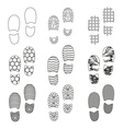Black human shoes footprint various sole outline vector image