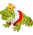 Cartoon funny king frog king blowing a kiss vector image vector image