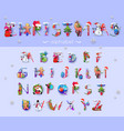 christmas font and alphabet vector image vector image