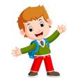 cute boy on his way to school vector image vector image