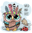 cute tribal owl and bird with feathers vector image