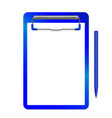 folder with clip and pen blue vector image vector image