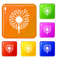 forest dandelion icons set color vector image