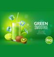 fruit juice poster realistic green kiwi vector image