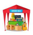 garage sale sale items preparing a yard vector image