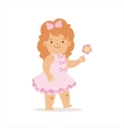 Girl In Pink Dress Walking With Flower Adorable vector image vector image