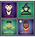 Halloween Party Monster Role Character Bust Icons vector image