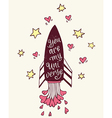Hand drawn with rocket and hearts vector image vector image