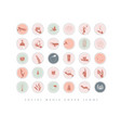 hands and cosmetics social media cover icons pink vector image vector image