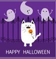 happy halloween spooky frightened cat holding vector image vector image
