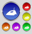 Iron icon sign Round symbol on bright colourful vector image