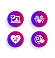 kiss me hold heart and friends chat icons set vector image vector image