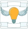 Light Bulb with Wings and Banners vector image vector image
