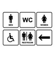 male and female restroom symbol icons set with vector image vector image