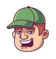 man in a green cap vector image
