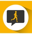 man runner sport emblem laurel branch vector image vector image