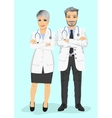 mature doctors standing with arms folded vector image vector image