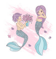 mermaid boy cartoon travel tropical vector image