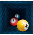 Metallic honeycomb tunnel and bingo balls vector image vector image