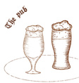 pencil hand drawn of pair of beer glass with label vector image vector image