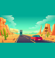road in desert with cars ride long asphalt highway vector image vector image