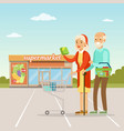 senior couple standing in front of a supermarket vector image