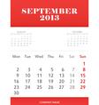 September 2013 calendar design vector image
