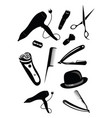 set elements for a hairdresser a collection of vector image vector image