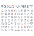 set flat line icons university vector image vector image