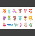 set of cute colorful soft plush animal toys vector image vector image